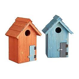 Relaxdays Nido artificiale casetta per uccellini in legno porta piccola apertura HLP: 24,3 x 17 x 12 cm, diversi colori