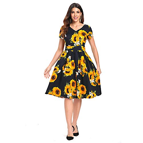 YTJH Donne Vestiti Vintage 1950s Linea A Elegante Abiti con Manica Corta Abito da Sera Scollo a V Estate Lunga Gonna Stampa Girasole (XL/EU44)