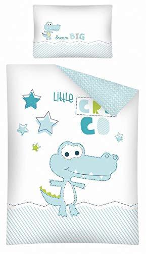 Kinderbettwäsche 2-tlg. 100% Baumwolle 40x60 + 100x135 cm mit Reißverschluss (Kroko türkis)