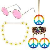 AIM Cloudbed Juego de 5 Trajes de Hippie: 60'S Disfraces Gafas de Sol Collar y Aretes con El Signo de la Paz, Diadema con Corona de Girasol y Brazalete Trenzado con el Signo de la Paz de PU