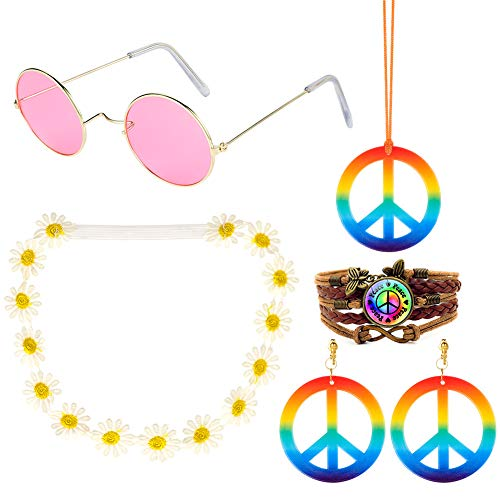 Tagaremuser 5er Pack Hippie Kostüm Set - 60er Jahre Kostüme Sonnenbrillen Peace Sign Halskette und Ohrringe, Sonnenblumen Stirnband und Peace Sign PU Armband (Flower Power Kostüm Damen)
