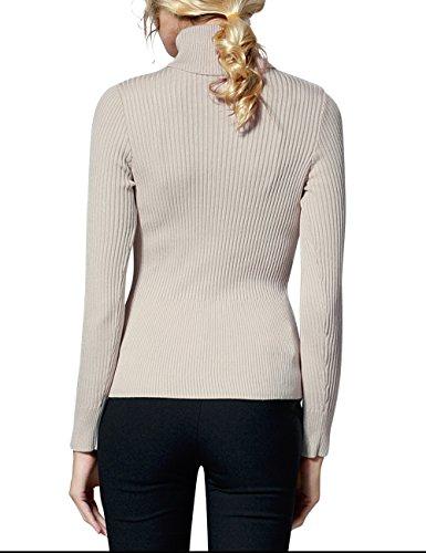 Rocorose Damen Langarm Gerippter Basic Rollkragen Pullover Aprikose
