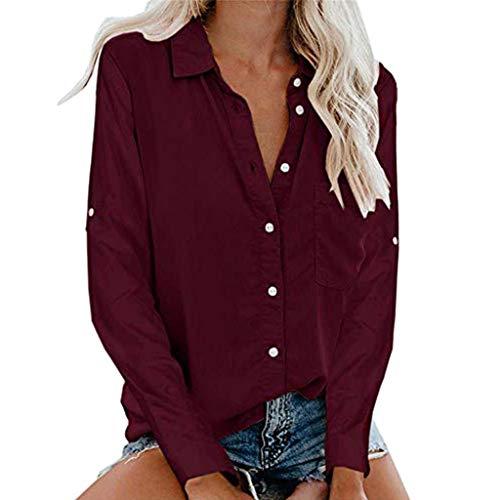 SSUPLYMY Damenhemd V-Ausschnitt Top, Lässig Einfarbig Geknotetes Hemdoberteil Damen Sommer Elegante Leinen Einfarbig Kurzarm T-Shirt 3/4 Arm Tunika Blusen Leicht Asymmetrisch Shirt - Ribbed Knit Tunika
