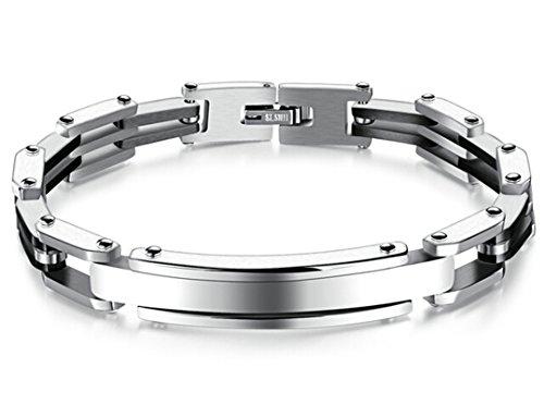 Beydodo Edelstahl Charm Armbänder für Herren Armband Punk Rock Schwarz 20.5x0.8CM
