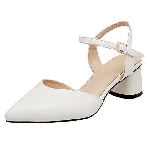 COOLCEPT Femme Mode Sangle De Cheville Sandales Talon Bloc Bout Ferme Slingback Chaussures Taille Blanc