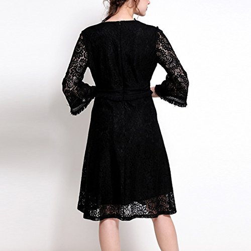 YYF Femme Robe Noir Elegante Robe Soiree V col Sex Noir