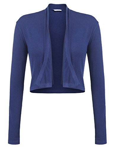 Parabler Damen Strickjacke Cardigan Langarm Kurze Jacke (EU 38/M, Blau) (Seide Strickjacke Leichte)