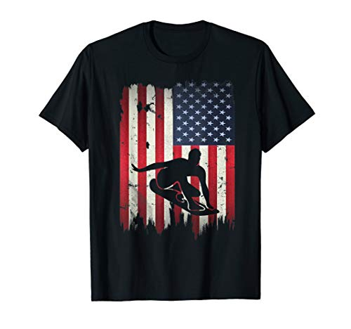 Surfer Surfing USA American Flag 4th of July Patriotic Gift T-Shirt