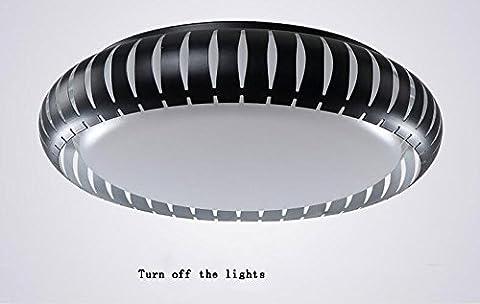LightSei EU Style européen moderne simples lampes de plafond LED ronde, fer PMMA Corps de Lumière haute transmittance Abat Personnalité Créativité Salon Chambre Aisle lumières Plafonnier ( Couleur : Noir-56*7cm )