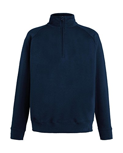 Fruit of the Loom Herren Sweatshirt Lightweight Zip Neck Sweat, Blau (Deep Navy 202), X-Large