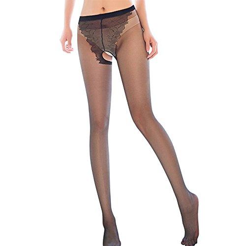 Meiye Frauen Sexy schiere Oberschenkel-hohe Strümpfe Strumpfhosen tragen, öffnen Schritt Strumpfhosen Sex (Black) (Schritt-strumpfhosen Offenen)