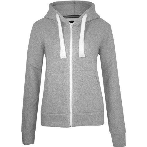 Womens-Ladies-Plain-Zipped-Fleece-Hoody-Hoodie-Sweatshirt-Size-S-M-L-XL-XXL