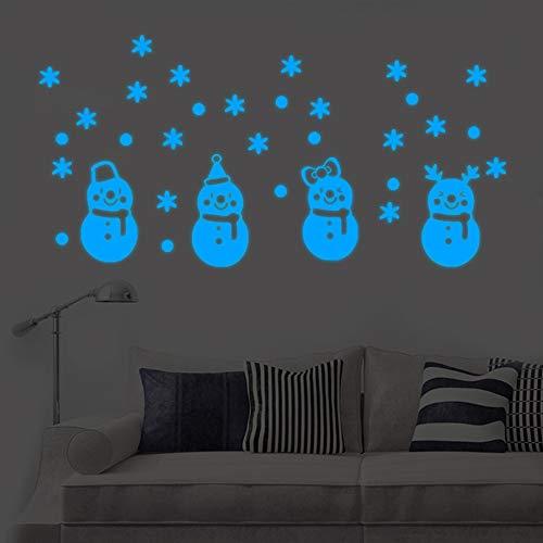 MAYOGO Leuchtende Schneemann-Weihnachts Wand-Aufkleber Schön Nacht Fluoreszenz Spiegel Applique Wand Stickers 15 * 30cm