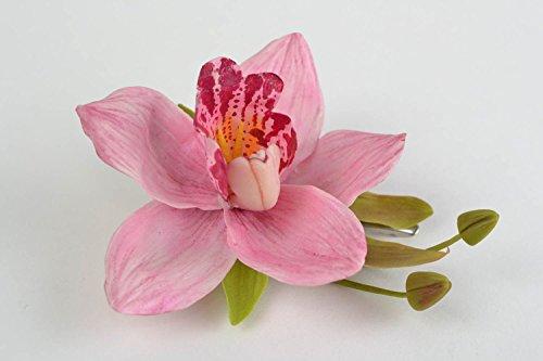 Pinza-para-el-pelo-de-porcelana-fria-artesanal-con-forma-de-orquidea-rosada