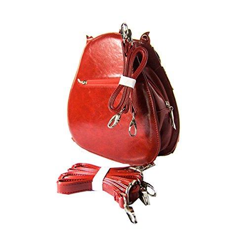 Yy.f Handtaschen Vorzügliche Handgemachte Retro-Eule Schultertaschen Für Frauen Die Neue Dual-Use Zweifarbig Rot Schwarz Red