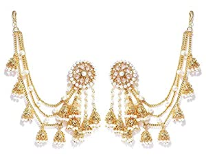 Zeneme Jewellery Traditional Stylish Gold Plated Polki & Pearl Bahubali Jhumki/Jhumka Earrings For Girls and Women