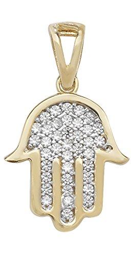 Hombre 9ct oro Zirconia cúbico collar colgante Hamsa sobre la acera