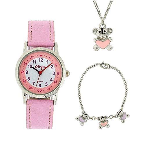 The Olivia Collection- Armbanduhr, Anhänger und Armband mit Teddybären.<br/>Geschenkset KS006 -