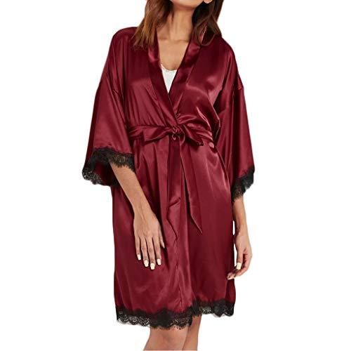 ABsoar Neue Frauen Bademantel Lace Satin Belted Pyjama Robe Unterwäsche Nachtwäsche Dessous Belted Rock Set