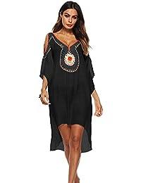 Robe Tunique Femme Chic Longue Col V à Fleur Manches Courtes en Coton Midi  de Plage ab85e07e91c