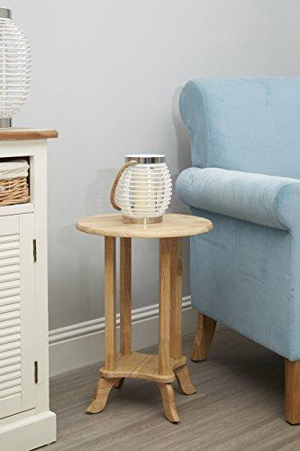 Premier Housewares Round Telephone Table, 55 x 39 x 39 cm - Rubberwood