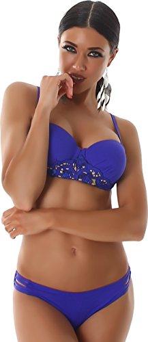 PF-Fashion Bikini Träger Bandeau Bademode Badeanzug Floral Spitze Cut Outs Zweiteiler Slip Top Uni Blau 40/42 -