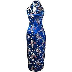7Fairy Mujer Azul Marino Escotado por detrás Chino Vestido Largo Dragón Cabestro Tamaño ES 36