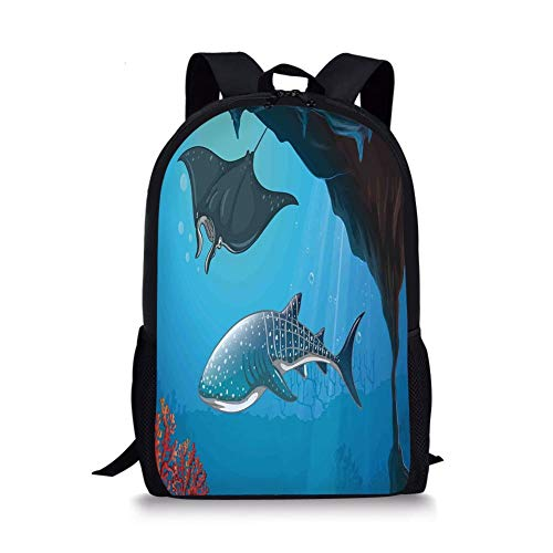 School Bags Sea Animal Decor,Shark Deep Water Stingray with Coral Reefs Algae Rocky Cave Exotic Cartoon,Blue Grey for Boys&Girls Mens Sport Daypack -