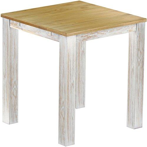 Brasil Meubles Haut 'Rio Classico' Table 120 x 120 cm, Pin Massif, Coloris Shabby LH – Brasil
