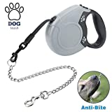 Idepet Heavy Duty Retractable Dog Leash for Small and Medium Dogs, Anti-Chewing Steel