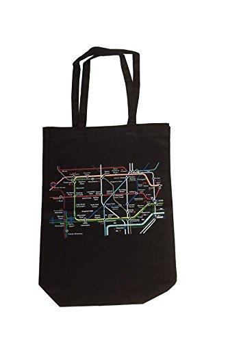 100% coton de Londres (Noir) Underground Plan main épaule Imprimé Sac Fourre-tout(Black underground bag)