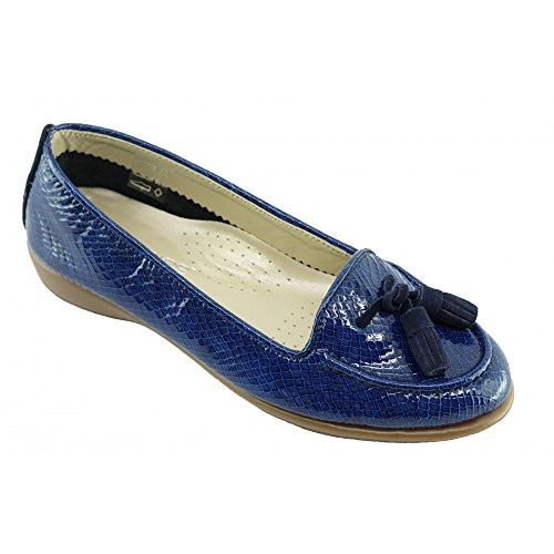 Dante - Mocassins Bleu Confortable slipper ultra souple - Aerobics C-Bleu