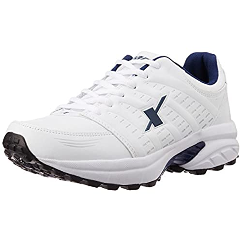 Sparx Men's White and Navy Blue Running Shoes -8 UK (SM-241)