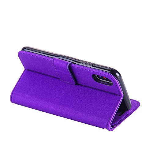 iPhone X Bling Hülle,iPhone X Flip Hülle,TOYYM Luxus Bling Glitzer 3D High Heel Muster Design Ultra Dünn PU Leder Stand Flip Wallet Magnet Brieftasche mit Kartenfach Innere Silikon Schutz Hülle,Bookst Lila