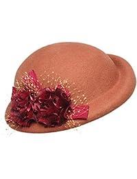 Cappello in Feltro a Fiori Vintage in Feltro di Lana Cloche Cappello da  Bowling a Forma di Chiesa Femminile Derby… bf0aaf5e0c0f