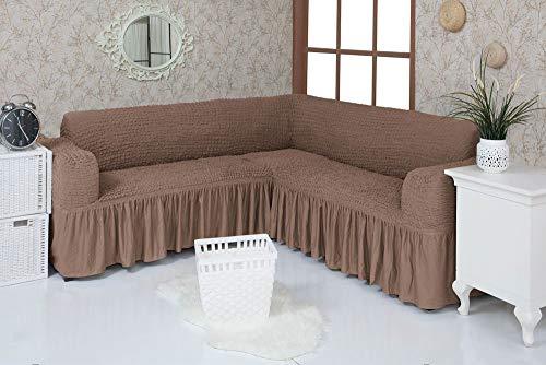 Mixibaby Eck Sofabezug Sofahusse Sesselbezug Sitzbezug Sesselüberwurf Stretchhusse Sofahusse, Farbe:nogat