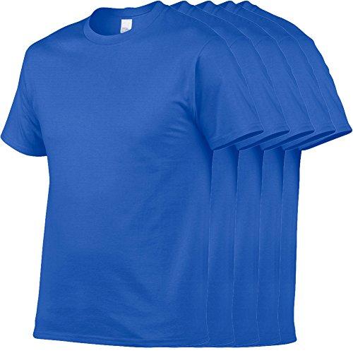 Herren Regular einfarbige T-Shirts mit Rundhalsausschnitt und kurzarm 5er Packung - American Heavyweight T-shirt