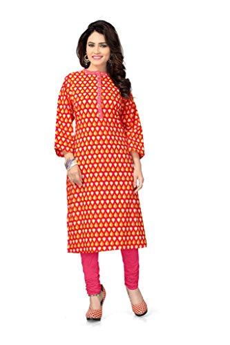 vaamsi cotton printed kurti (VPK1020_Orange_L)