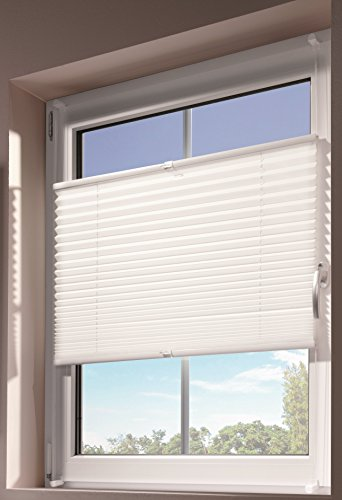 mydeco 80x130 cm [BxH] in weiß - Plissee Jalousie ohne bohren, Rollo für innen incl. Klemmträger (Klemmfix) - Sonnenschutz, Sichtschutz für Fenster