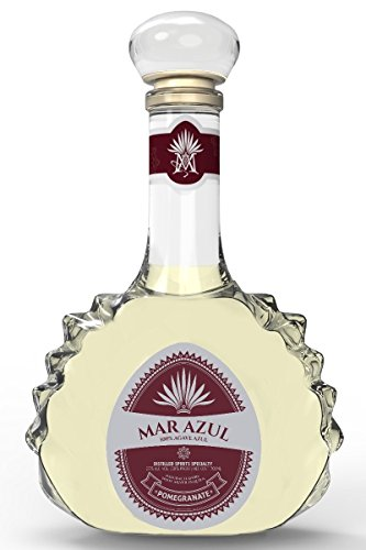 Mar Azul Tequila Artesanal con Sabor a Granada, Botella 70 cl, 25% Alcohol, Hecho en México