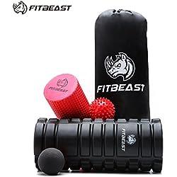 FitBeast Rodillos de Espuma para Ejercicios musculares para Masaje Muscular, Punto de Activación, Rodillo de Yoga (Black)