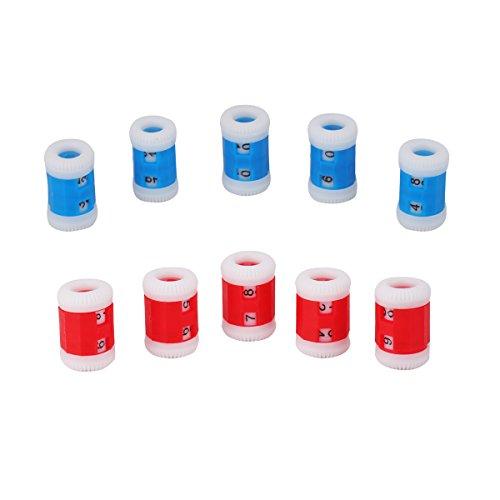 Maschenmarkierer und Reihenzähler, aus Kunststoff,5x große Größe und 5x kleine Größe,Blau und Rot. -