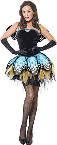 Fever, Damen Schmetterling Kostüm, Rock, Korsett mit Schnürrücken und Flügel, Größe: S, - Korsett Adult Kostüm