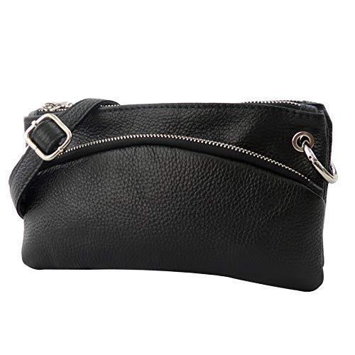 SH Leder Echtleder Umhängetasche Clutch kleine Tasche Abendtasche 24,50x14cm G1619 (Schwarz) - Rindleder-umhängetasche Handtasche
