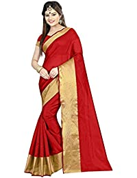 Sarees New Collection 2017 (Sareeka Sarees Women's Red Cotton Saree For Women With Blouse Piece)