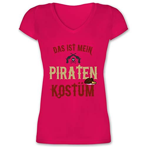 Karneval & Fasching - Das ist Mein Piraten Kostüm - S - Fuchsia - XO1525 - Damen T-Shirt mit V-Ausschnitt