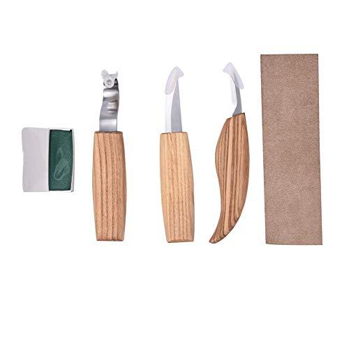 Rubyu Schnitzwerkzeugsatz Edelstahl Holz Schnitzmesser Schnitzwerkzeug 3-teiliges Set Holzschnitzerei Messer Holzschnitzmesser mit Haut Schärfen + Polierwachs + Stoffbeutel