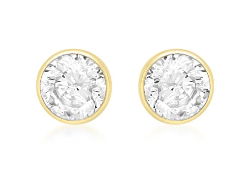 Carissima Gold 9ct Yellow Gold 4mm Round Cubic Zirconia Stud Earrings