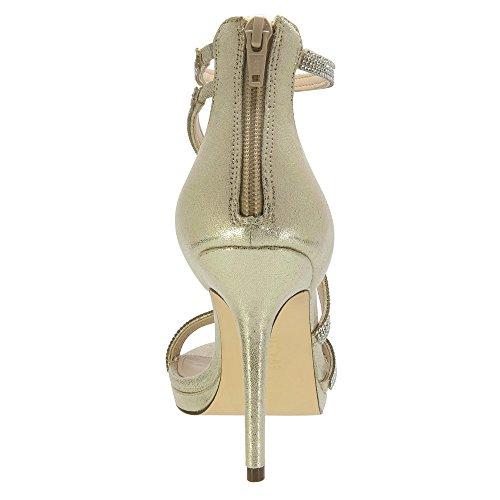 Nina Reed Damen Stoff Sandale Gold