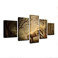 SHINERING 5 Panel Forest Waterfall Canvas Oil Painting Wall Art HD Print Spray Painting Picture Set Canvas Art Home Decoration Frameless